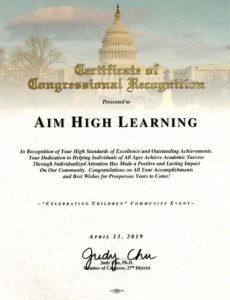 Certificate Judy Chu 2019